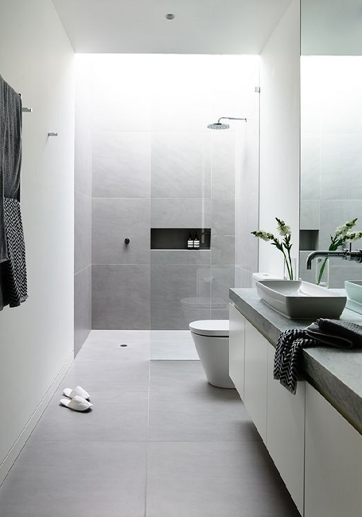 Reformar Un Baño Pequeno:Grey and White Modern Bathroom Tile Ideas